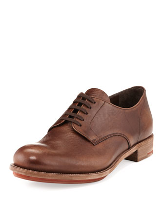 Vintage Saffiano Lace-Up, Brown