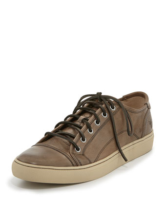Men's Justin Leather Low-Top Sneaker, Putty