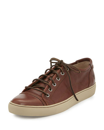 Men's Justin Leather Low-Top Sneaker, Cognac