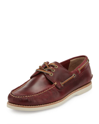 Men's Sully Leather Boat Shoe, Burgundy