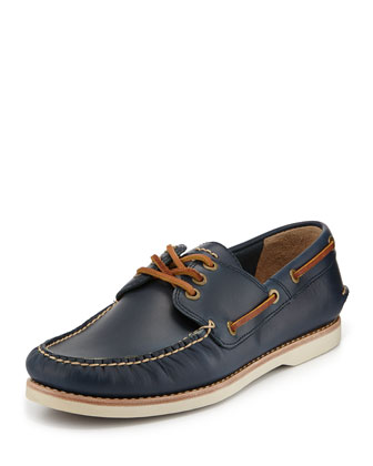 Men's Sully Leather Boat Shoe, Navy