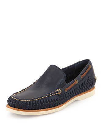 Sully Woven Venetian Loafer, Navy