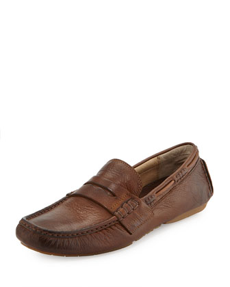 Men's West Leather Penny Driver, Cognac