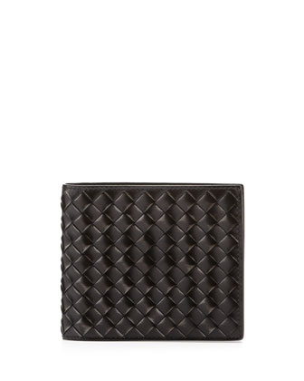Calandre Woven Leather Wallet, Silver/Black