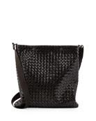 Calandre Intreccio Men's Messenger Bag, Silver/Black