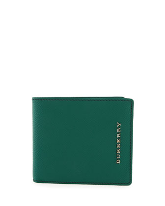 London Pebbled Bi-Fold Wallet, Green