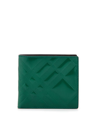 Specchio Check-Embossed Wallet, Green