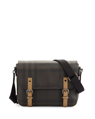 Men's Check Messenger Bag with Leather Trim, Smoke