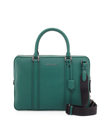 London Leather Crossbody Laptop Briefcase, Green