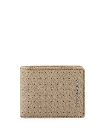 Bicolor Perforated Bi-Fold Wallet, Tan