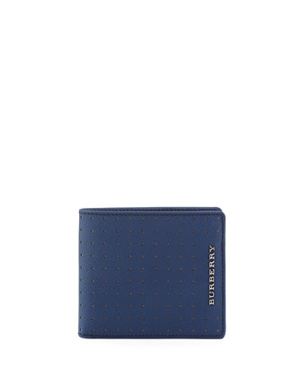 Bicolor Perforated Bi-Fold Wallet, Blue/Tan
