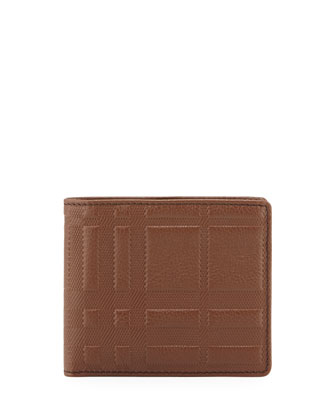 Check-Embossed Leather Wallet
