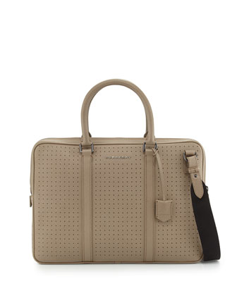 Perforated Leather Briefcase, Tan