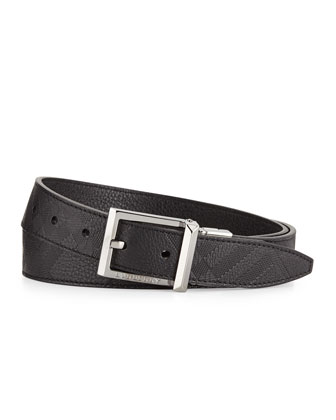 Embossed-Check Leather Belt, Black