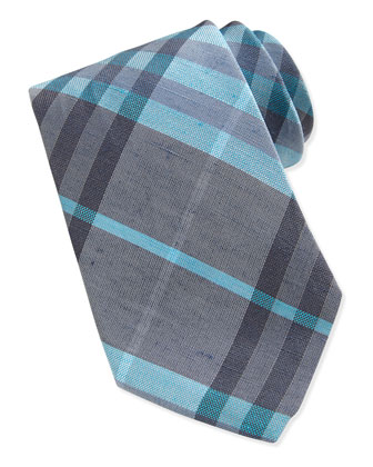 Silk Woven Check Tie, Gray/Lt. Blue
