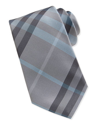 Linen/Silk Woven Check Tie, Gray/Turquoise