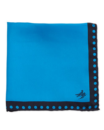 Dot-Border Silk Pocket Square, Blue