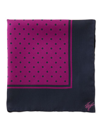 Polka-Dot Silk Pocket Square, Magenta