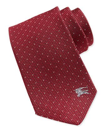 Silk Equestrian Knight Emblem Pindot Tie, Red