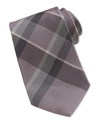 Silk Check Tie, Purple