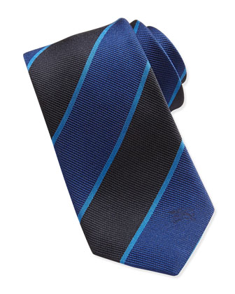 Silk Equestrian Knight Woven Striped Tie, Blue-Black