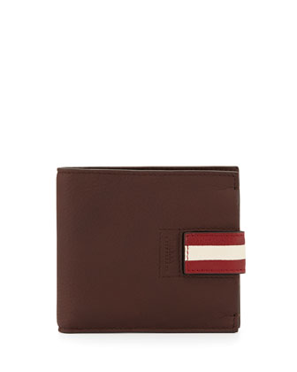 Braden Leather Stripe Wallet, Brown
