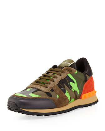 Men's Rockrunner Camo Sneaker, Green/Orange
