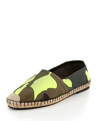 Men's Camo-Print Espadrille Shoe, Yellow/Green