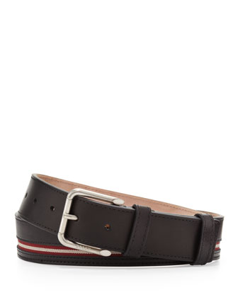 Colimar Stripe-Inlaid Belt, Black