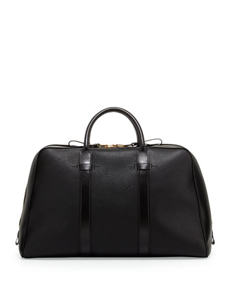 Wide-Zip Trapeze Duffle Bag, Black