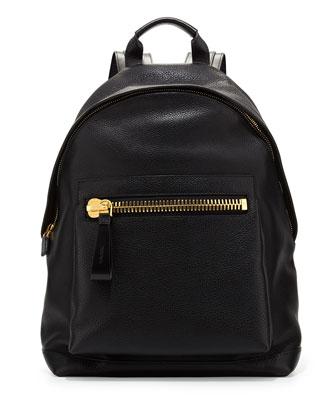 Men's Leather Wide-Zip Backpack, Black