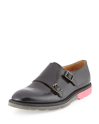 Pitt Monk Strap Leather Loafer, Black City Brush Off