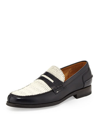 Konrad Woven-Leather Loafer, Navy/White