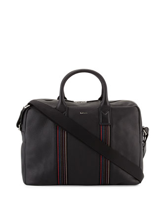 Stripe-Webbing Large Briefcase, Black