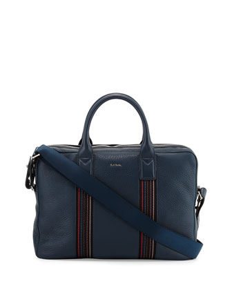Stripe-Webbing Slim Briefcase, Teal