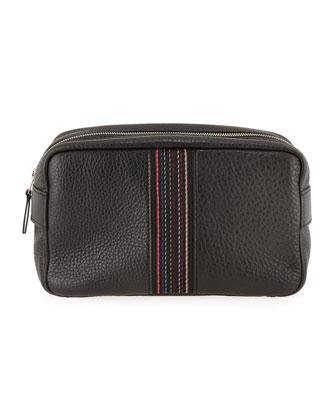 Leather Striped-Web Travel Kit