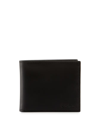 Men's Striped Leather Wallet, Black/Multi