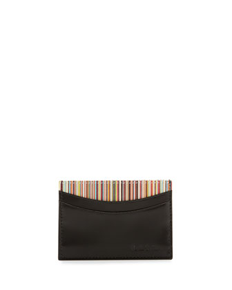 Striped Leather Card Case, Black