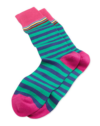 Multi-Top-Stripe Socks, Green