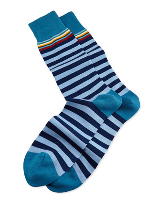 Multi-Top-Stripe Socks, Light Blue