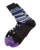 Polka Stripe Socks, Black