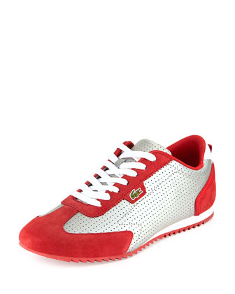 Westcott Perforated Sneaker, Gray/Red