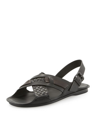 Woven Leather Crisscross Sandal, Black