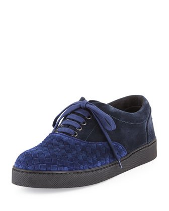 Suede Woven Low-Top Sneaker, Blue Multi