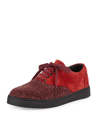 Suede Woven Low-Top Sneaker, Red