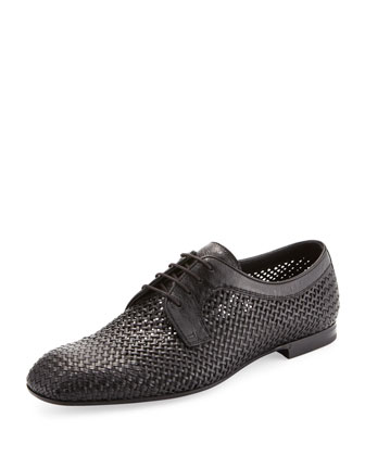 Alfride Open-Weave Lace-Up, Black