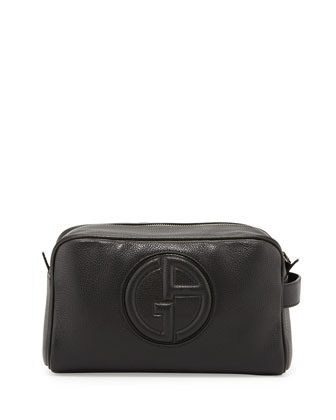 Leather Logo Zip Dopp Kit, Black