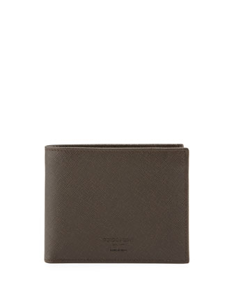 Saffiano Leather Hip-Fold Wallet, Brown