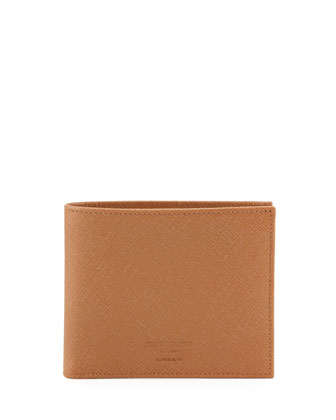 Saffiano Leather Hip-Fold Wallet, Tan