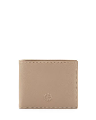 Vitello GA Logo Hip-Fold Wallet, Light Brown
